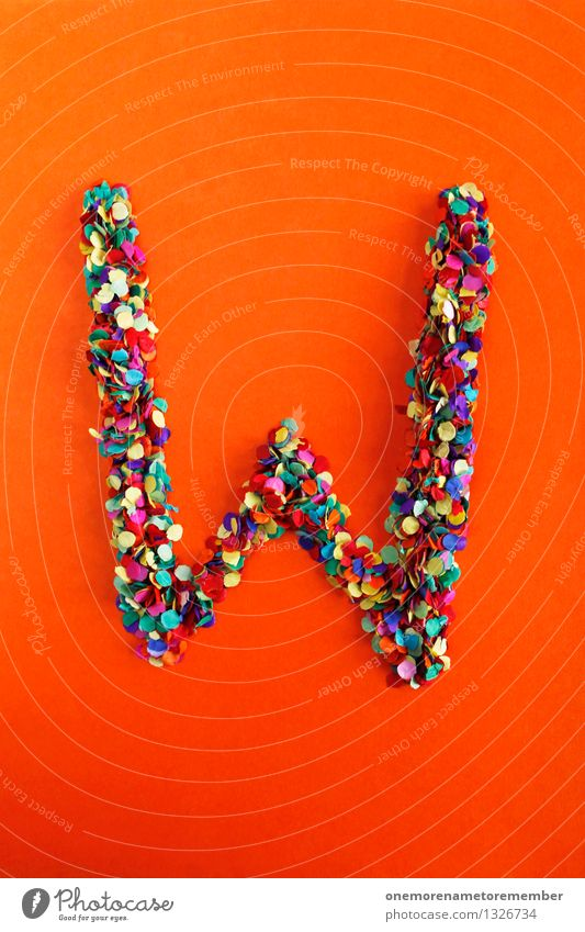 W Art Work of art Esthetic Letters (alphabet) Typography Confetti Many Point Idea Creativity Design Multicoloured Greek alphabet Colour photo Interior shot