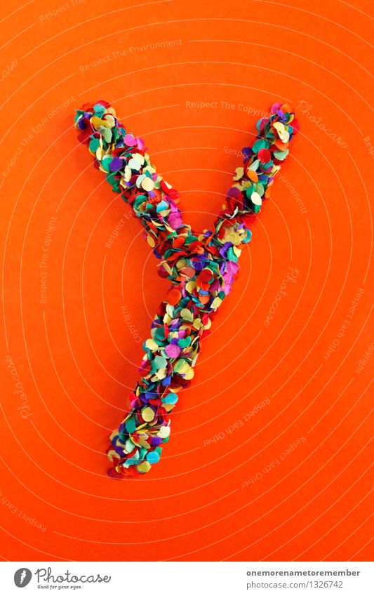 Y Art Work of art Esthetic y Letters (alphabet) Typography Alphabetical Orange Red Confetti Creativity Idea Design Colour photo Multicoloured Interior shot