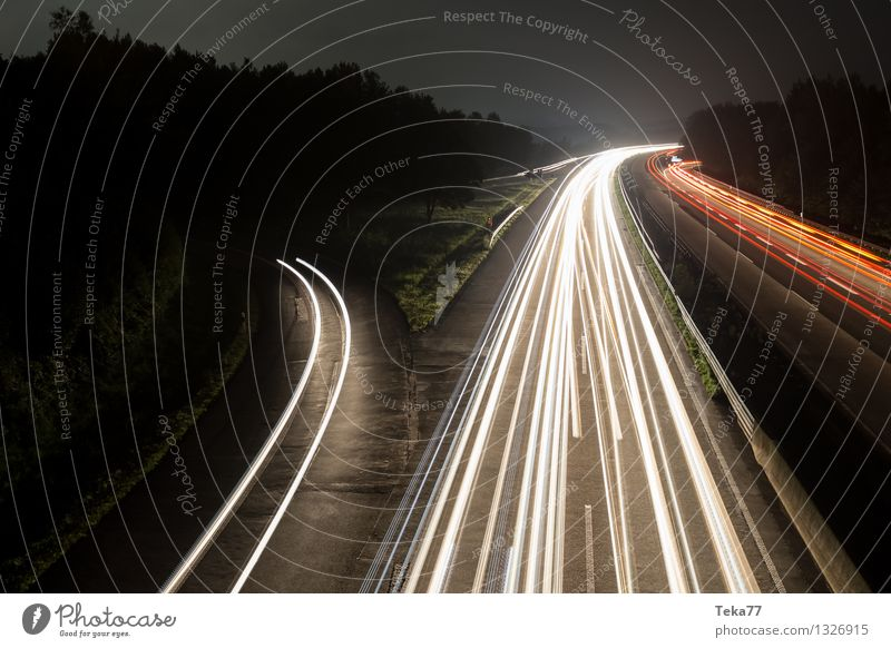 Motorway I Transport Means of transport Traffic infrastructure Street Highway Vehicle Car Truck Esthetic Uniqueness Elegant Exterior shot Night Long exposure
