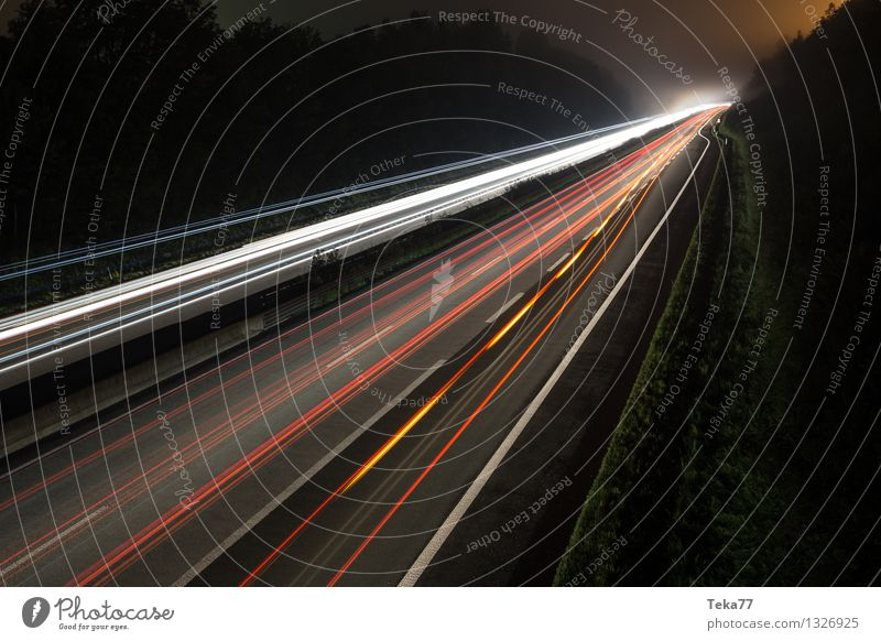 Motorway II Transport Means of transport Traffic infrastructure Road traffic Motoring Street Highway Vehicle Car Truck Esthetic Movement Exterior shot Night