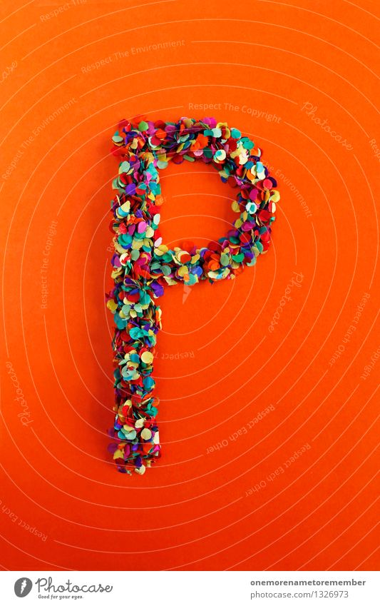 P Art Work of art Esthetic Letters (alphabet) Typography Latin alphabet Orange Red Creativity Confetti Design Idea Multicoloured Colour photo Interior shot