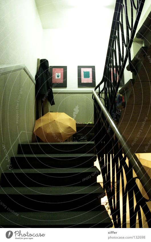 autumnal in spring Autumn Staircase (Hallway) Neon light Umbrella Orange Stairs staircase Image