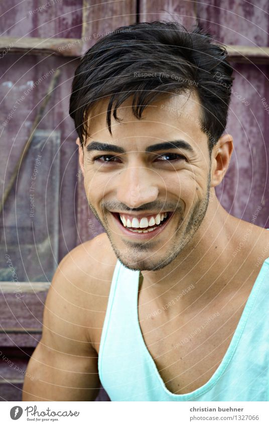 laughing guy Young man Youth (Young adults) Face 1 Human being 18 - 30 years Adults Black-haired Designer stubble Laughter Looking Eroticism Friendliness