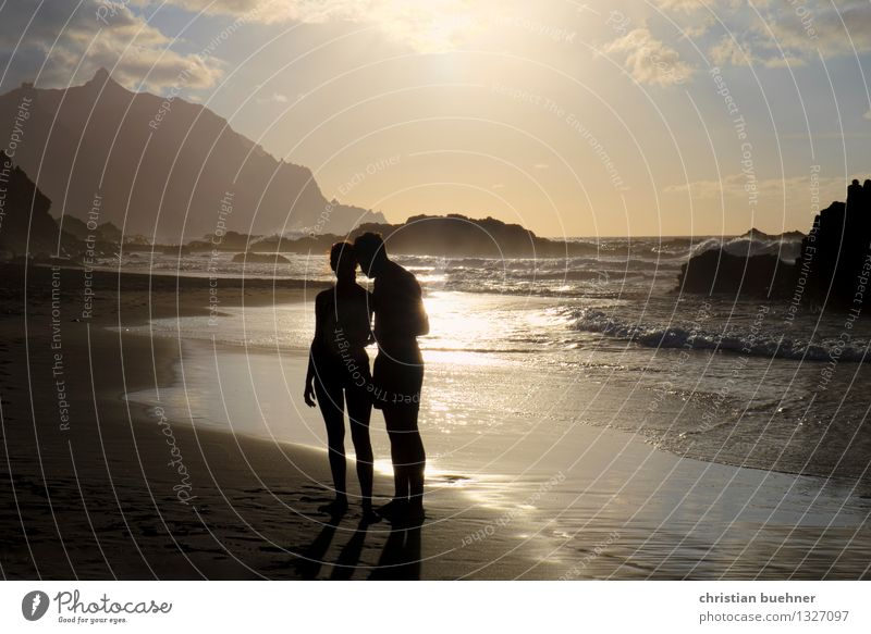 Lovers on the beach Vacation & Travel Freedom Summer vacation Sunbathing Ocean Island Woman Adults Man Couple 2 Human being 30 - 45 years Nature Horizon