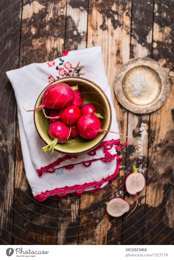 Fresh radish bunch on a rustic wooden table Food Vegetable Nutrition Lunch Organic produce Vegetarian diet Diet Crockery Plate Bowl Lifestyle Style Design