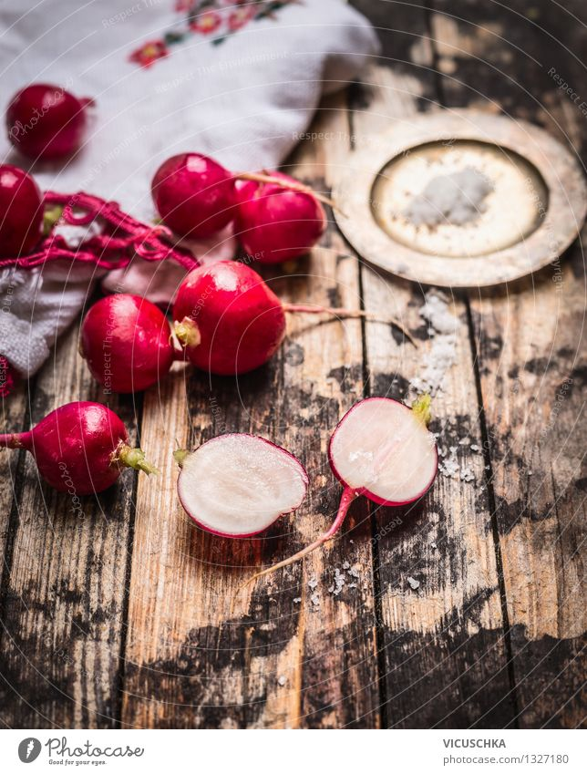 Fresh crunchy radishes with salt on the kitchen table Food Vegetable Nutrition Lunch Organic produce Diet Bowl Style Design Healthy Eating Life Summer Garden