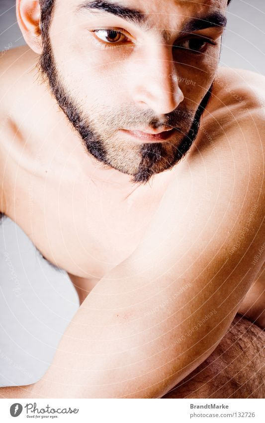 Man Eyes Naked Hair and hairstyles Dream Sadness Think Arm Sit Peace Facial hair Shoulder Dreamily Crouch Unshaven