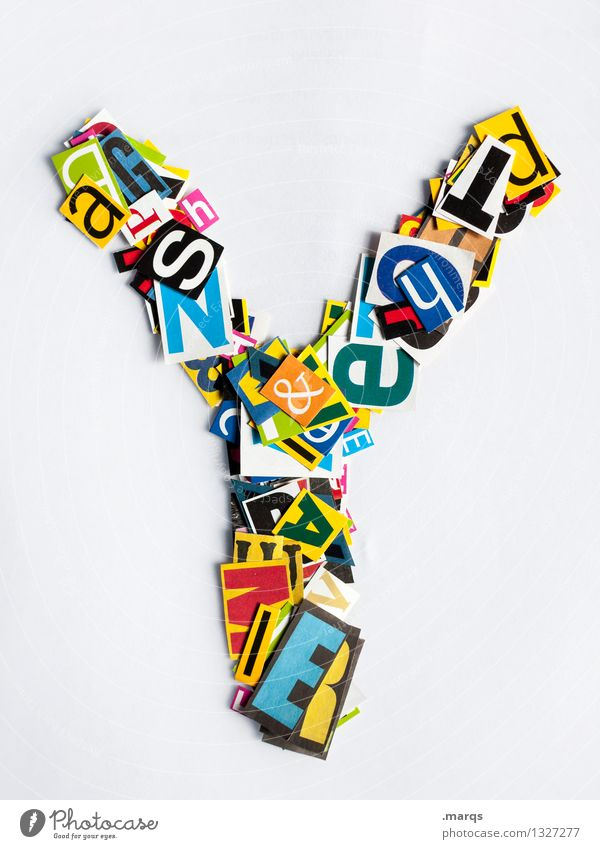 Y Style Design Education Characters Latin alphabet Snippets Colour photo Multicoloured Isolated Image Neutral Background