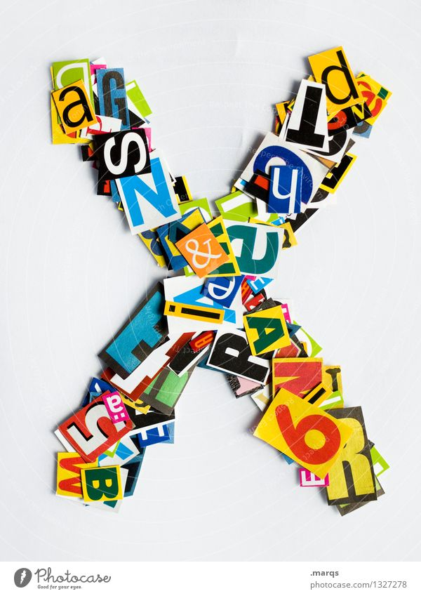 X Style Design Education Characters Latin alphabet Snippets Colour photo Multicoloured Isolated Image Neutral Background