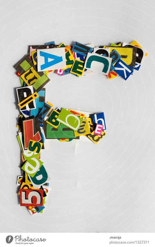 f Style Design Education Characters Latin alphabet Snippets Colour photo Multicoloured Isolated Image Neutral Background