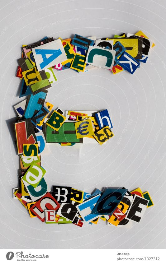 e Style Design Education Characters Latin alphabet Snippets Colour photo Multicoloured Isolated Image Neutral Background