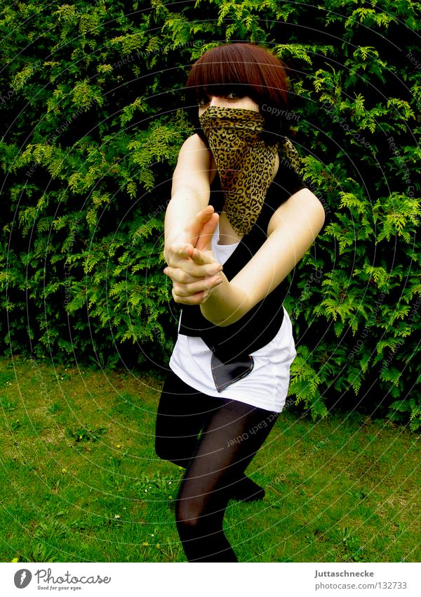 Woman White Green Face Black Grass Garden Safety Dangerous Threat Target Mask Stockings Mysterious Hide Tights
