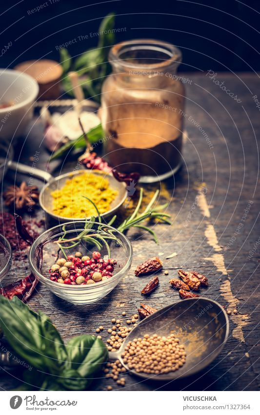 Oriental Cooking - Hot Spices Food Herbs and spices Nutrition Organic produce Vegetarian diet Diet Asian Food Plate Bowl Bottle Spoon Style Design