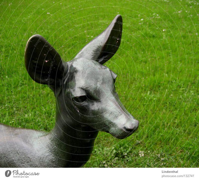 Meadow Rain Metal Wild animal Ear Statue Mammal Roe deer Bronze Buck