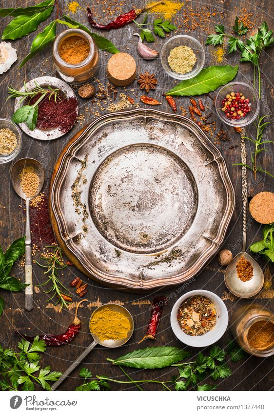 Oriental spices around the empty plate Food Herbs and spices Nutrition Organic produce Vegetarian diet Diet Slow food Plate Spoon Lifestyle Style Design
