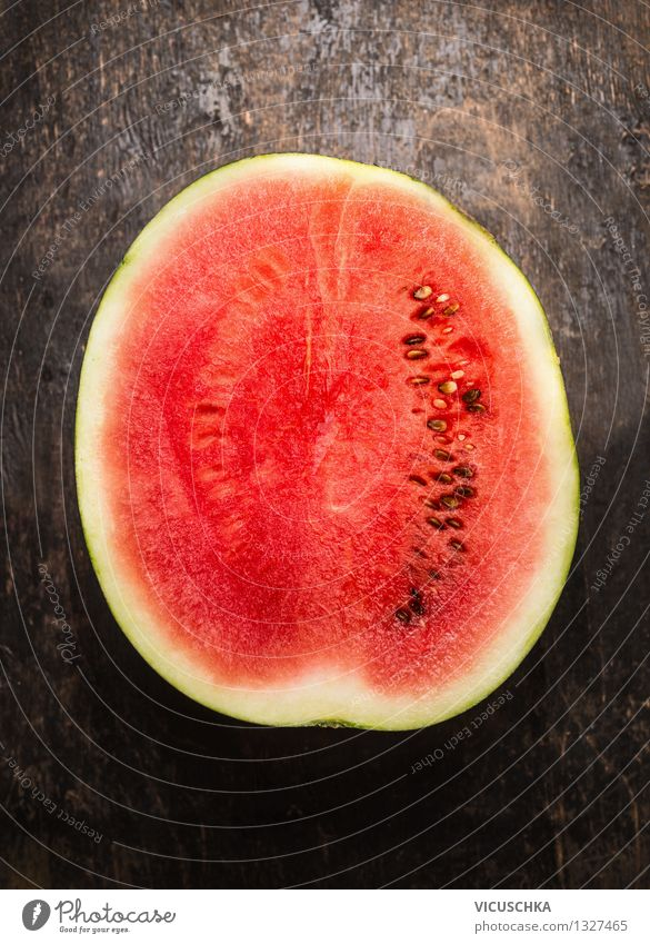 Half of the watermelon Food Fruit Dessert Nutrition Organic produce Vegetarian diet Diet Juice Style Design Healthy Eating Life Summer Table Nature