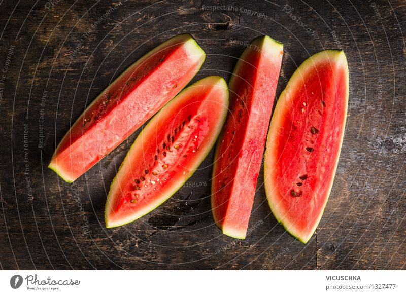 Ripe watermelon Food Fruit Dessert Nutrition Organic produce Vegetarian diet Diet Style Design Healthy Eating Life Summer Garden Table Nature Water melon Slice