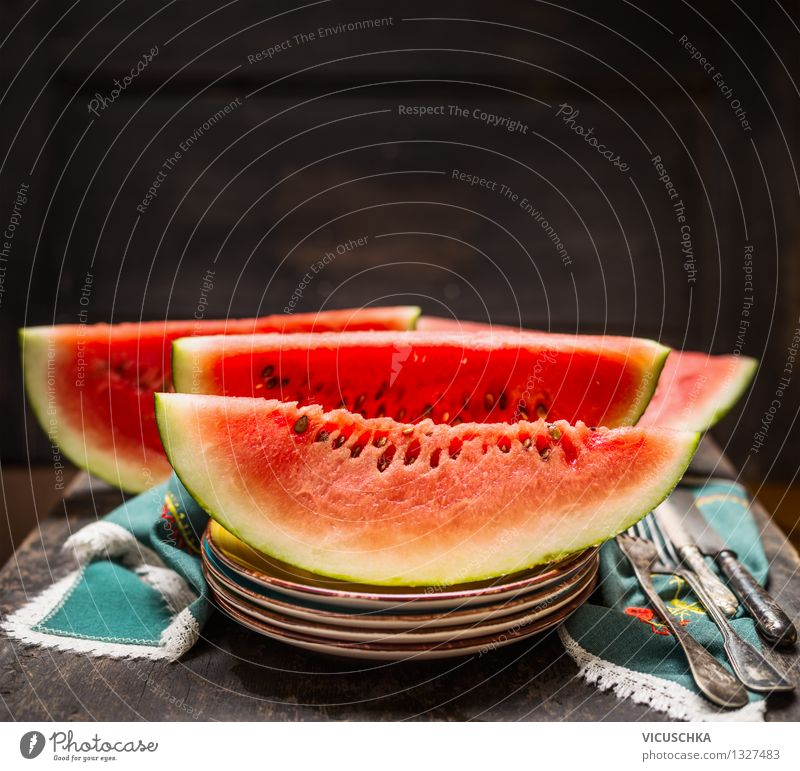 Watermelon on the table Food Fruit Dessert Nutrition Organic produce Vegetarian diet Diet Juice Crockery Plate Cutlery Knives Fork Style Design Healthy Eating