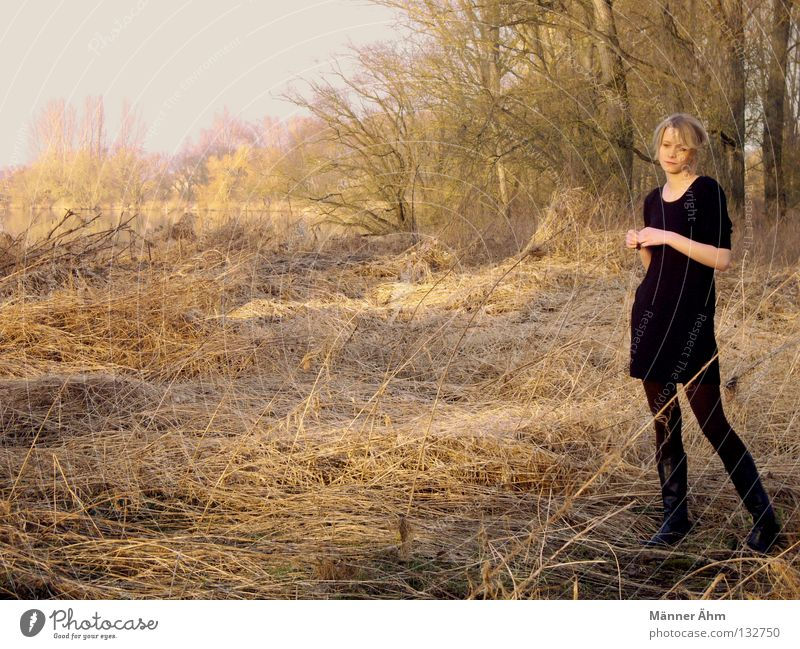 Woman Tree Forest Autumn Grass Think Lake Stand Clothing Dress Thin Dry Lakeside Boots Blade of grass Numbers