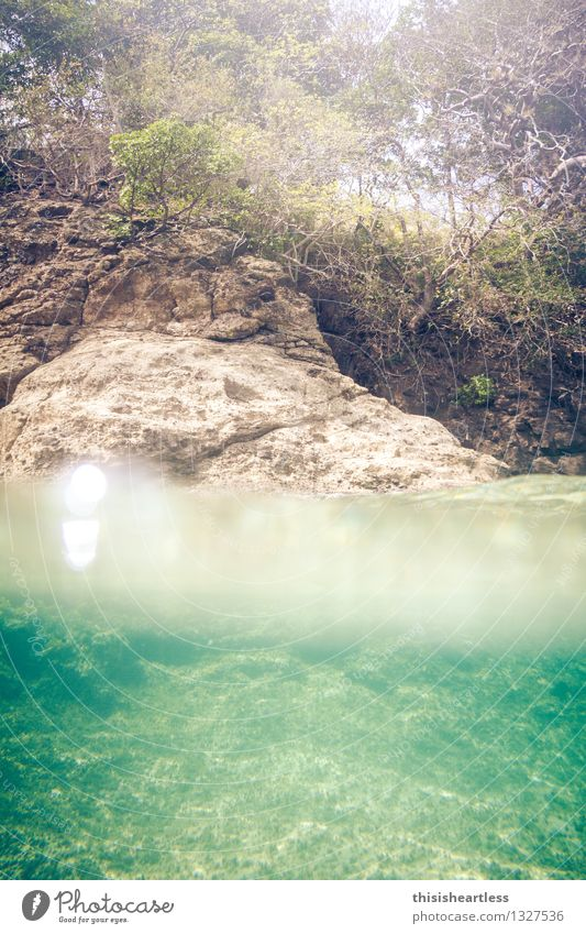 Vacation & Travel Blue Green Summer Water Sun Ocean Yellow Coast Swimming & Bathing Stone Horizon Island Adventure Curiosity Bay