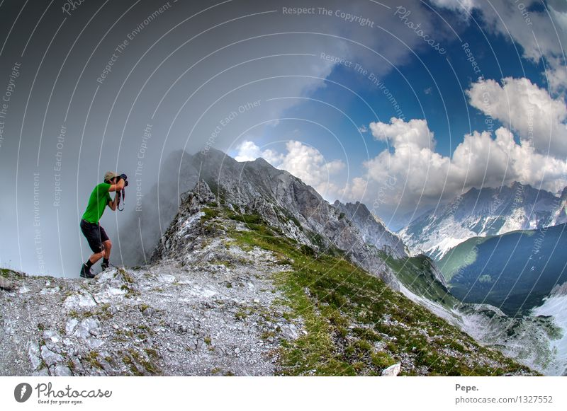 Go out Rain Alps Mountain Peak Green Freedom Austria Photographer Take a photo In transit Day Panorama (View)