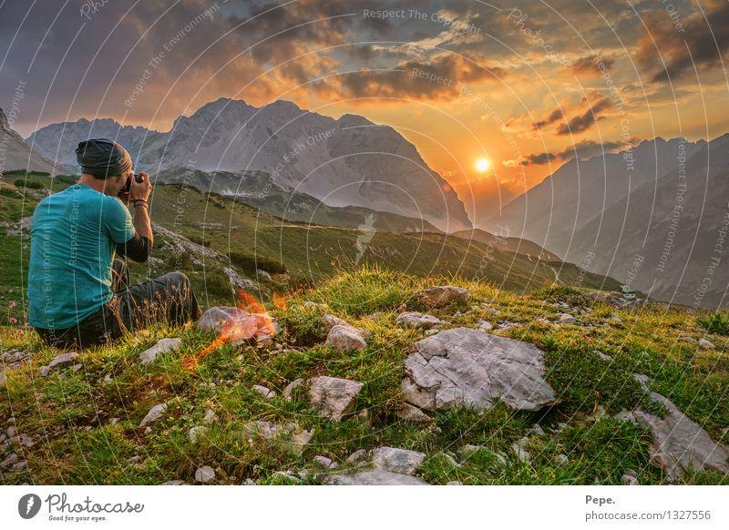 Green Mountain Happy Rock Orange Contentment Peak Hill Alps Karwendelgebirge