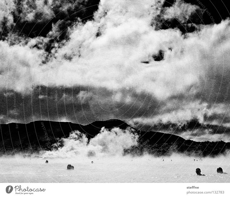 steam off Blue Lagoon Iceland Relaxation Stress Black White Smoke Clouds Physics Pleasant Healthy Black & white photo Sky Steam Steam bath Swimming & Bathing