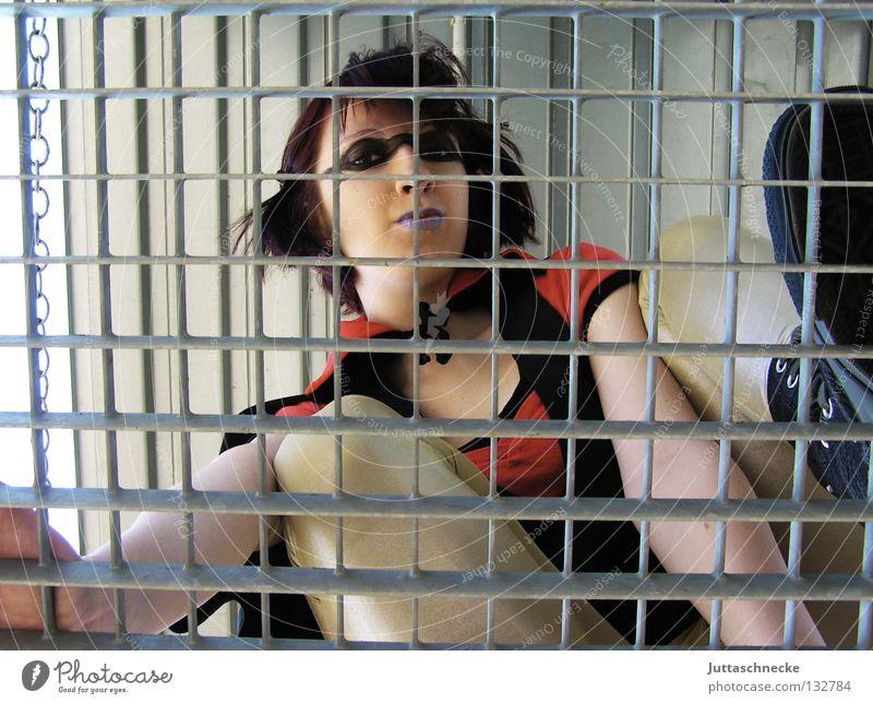 Woman Wall (building) Above Wall (barrier) Success Tall Dangerous Climbing Mask To fall Steel Upward Chain Hero Comic Great