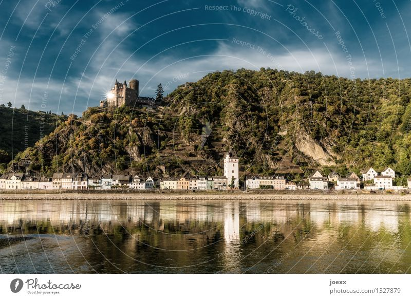 new cataloque sheet Water Sky Clouds Summer Beautiful weather Mountain House (Residential Structure) Castle Old Historic Tall Colour photo Subdued colour