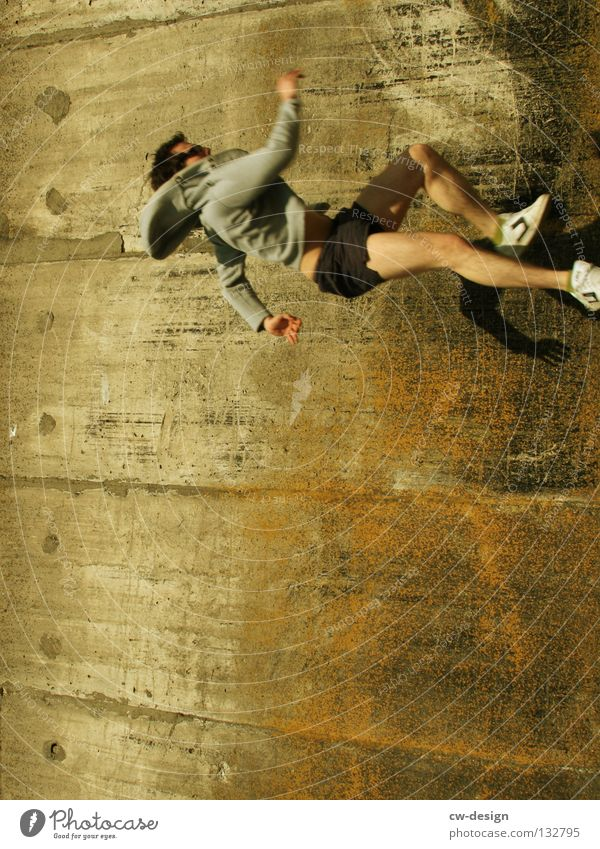 THE WALL | VERTICAL CATWALK Wall (building) Concrete Man Masculine Generous Catwalk Walking Glass Left Art Arts and crafts  Detail Dangerous Running Human being