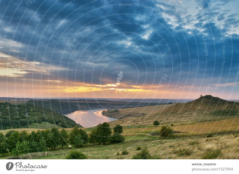 September on the river Dniester Nature Landscape Sand Water Sky Clouds Storm clouds Sunrise Sunset Autumn Weather Wind Tree Grass Bushes Garden Field Forest