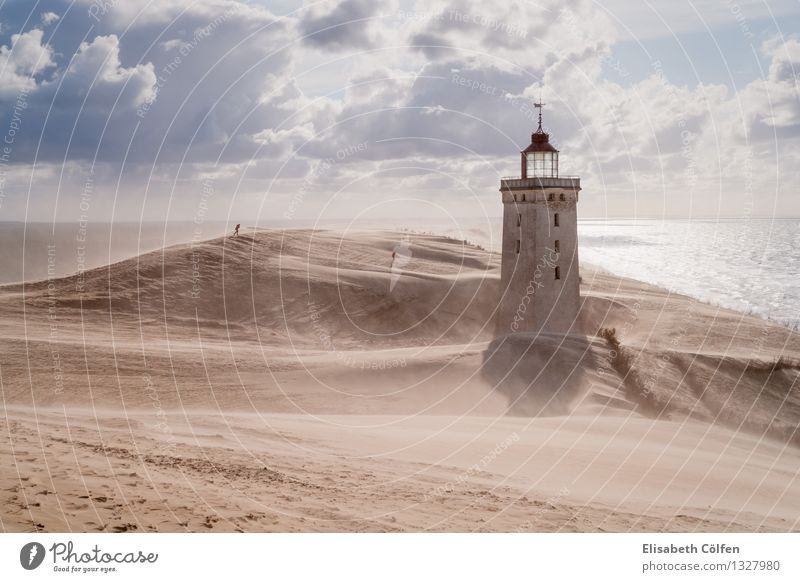 Sandstorm at the lighthouse Sun Ocean Human being Nature Landscape Clouds Gale Coast North Sea Desert Lønstrup Denmark Europe Lighthouse Manmade structures