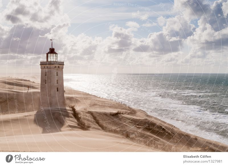 Sandstorm at the lighthouse Sun Ocean Human being Nature Landscape Clouds Gale Coast North Sea Desert Lighthouse Tourist Attraction Landmark Loneliness