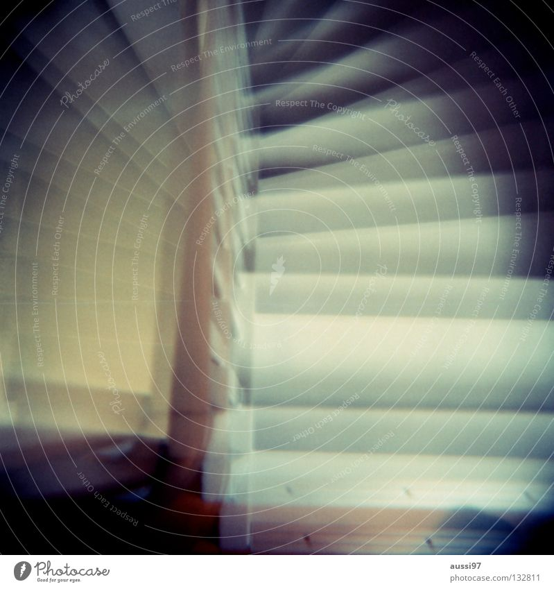 House (Residential Structure) Going Stairs Living or residing Analog Under Upward Hallway Downward Banister Double exposure Medium format