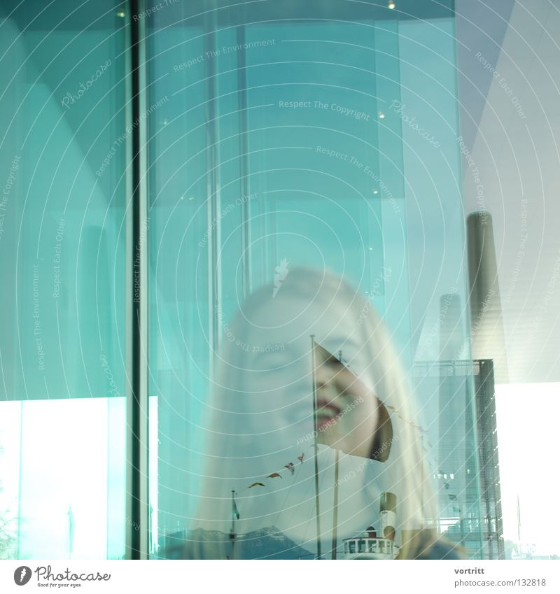 intermediate level Child Woman Girl Reflection Building Art Concealed Blur Green Roof Lake Watercraft Steamer Portrait photograph Close-up Joy Human being Glass