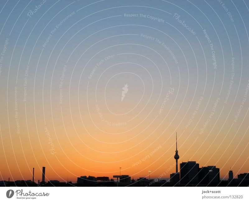 second blue hour Cloudless sky Downtown Berlin Capital city Tourist Attraction Landmark Berlin TV Tower Tall Blue Orange Moody Ambitious Colouring