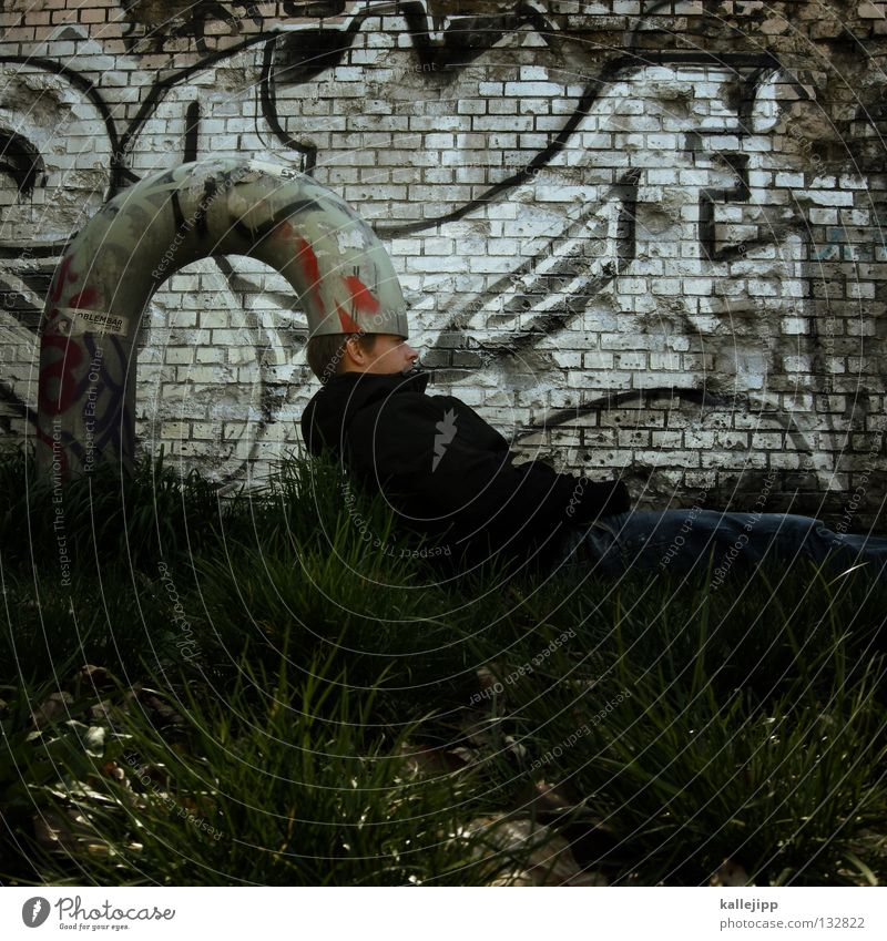 Human being Man Graffiti Grass Think Funny Protection Creativity Idea Pipe Bizarre Obscure Thought Strange Joke Absurd