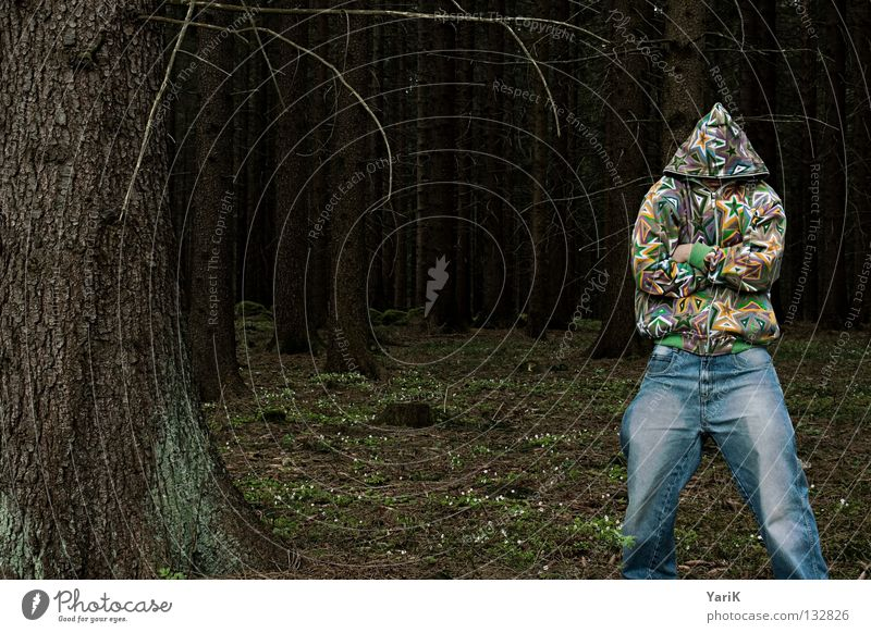 Man Hand Tree Joy Colour Forest Crazy Star (Symbol) Jeans Branch Pants Feces Jacket Stupid Twig Absurdity