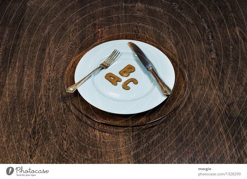 The letters A B C on a plate with knife and fork Food Cake Candy Nutrition To have a coffee Dinner Buffet Brunch Banquet Business lunch Vegetarian diet Diet
