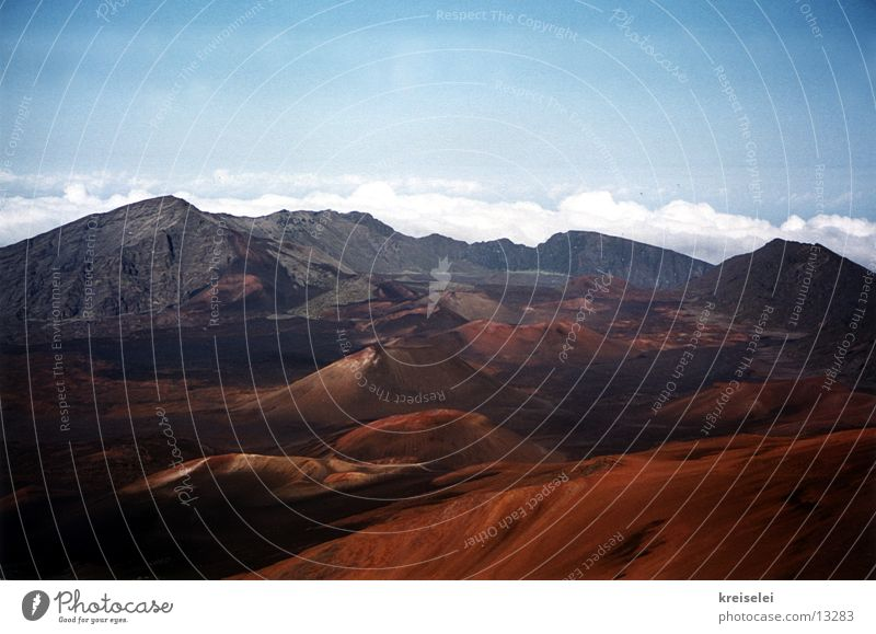 Lunar Land 2 Volcanic crater Clouds Volcano Mountain Mountain range Volcanic island Earth Martian landscape Primordial Untouched Panorama (View) Copy Space top