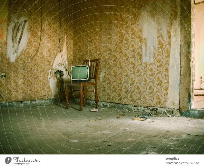 Old Flower Loneliness Interior design Lanes & trails Flat (apartment) Room Broken Retro Construction site Cable Chair Moving (to change residence) Furniture Derelict TV set