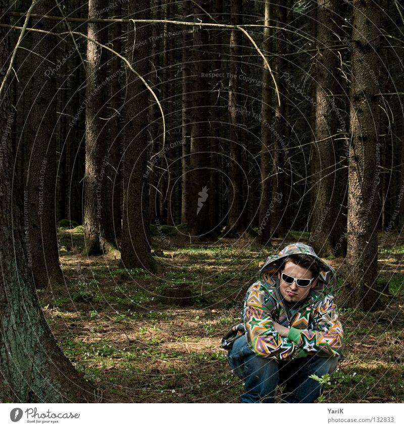 Man Hand Tree Joy Forest Colour Sit Crazy Star (Symbol) Cool (slang) Eyeglasses Jeans Branch Feces Jacket Pants