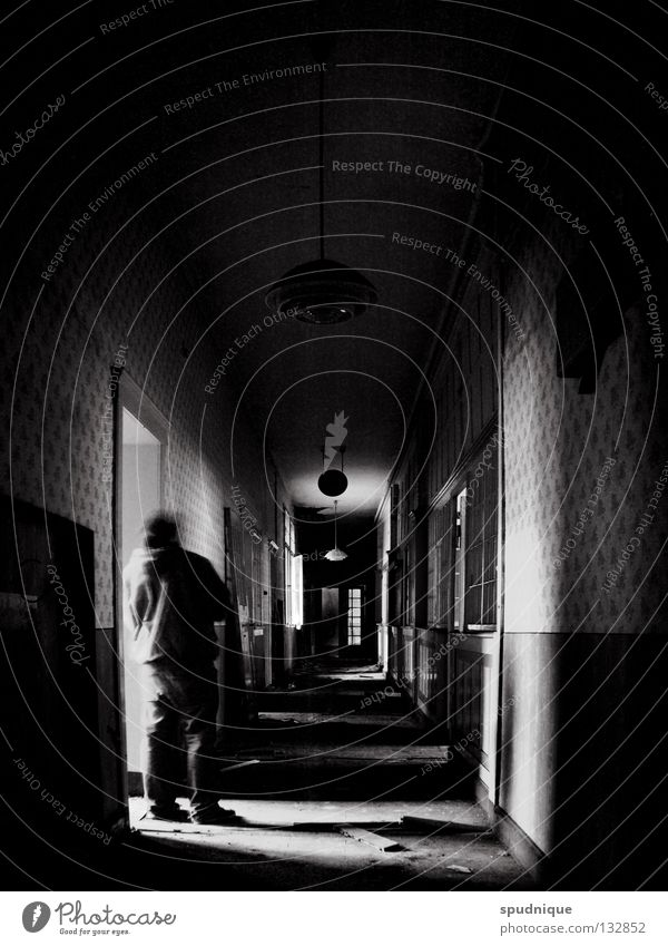 yesterday and today Factory Building Empty Past Loneliness Tunnel Light Virtual Wallpaper Office building Black White Derelict Transience Old Shadow