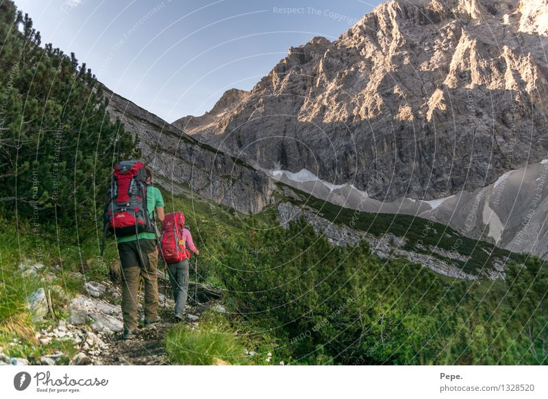Together Environment Nature Landscape Cloudless sky Tree Bushes Rock Alps Mountain Hiking Blue Green Fitness In transit Lanes & trails Target Austria