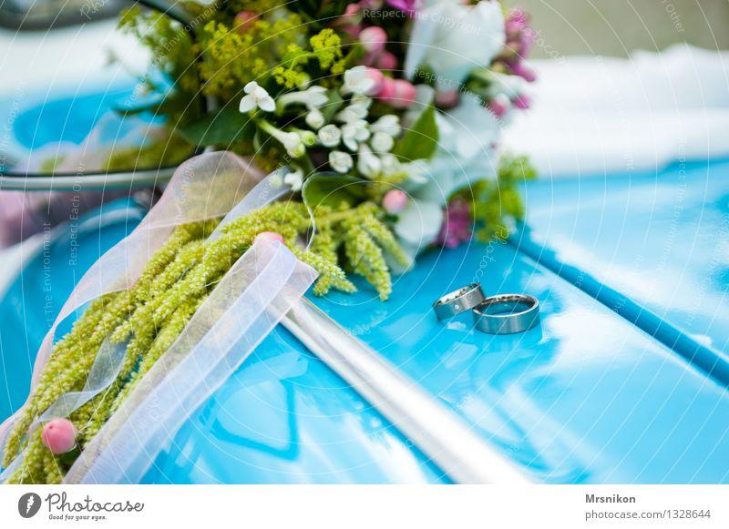 wedding Wedding Plant Love Wedding ceremony Bouquet Ring Trabbi Vintage car Wedding band Vail Blue Happy Colour photo Exterior shot Close-up Detail