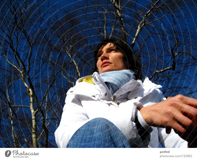 thoughts Woman Winter Cold Thought Time Slowly Desire Future Think Wait Blue Sky Weather Nature Sit Fiber Human being Exterior shot