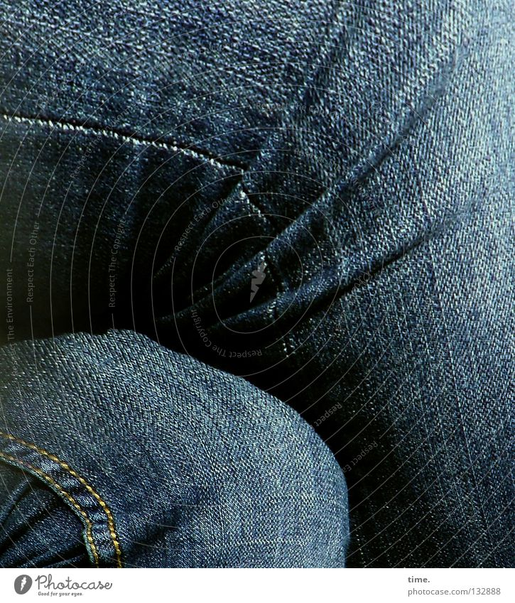 Noon. Break. Pants Knee Squat Thigh Lower leg Textiles Cloth Stitching Folds Wrinkles Narrow Sewing thread 2 Detail Clothing Jeans Legs Sit Crossed entangled