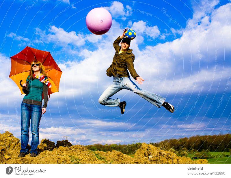freedom Jump Sky Summer Sunshade Emotions Joy Colour katha manu clouds Blue Life