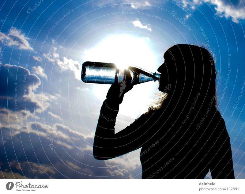 refreshment Drinking Refreshment Back-light Silhouette Summer katha Water Thirst Bottle Sky Blue Contrast