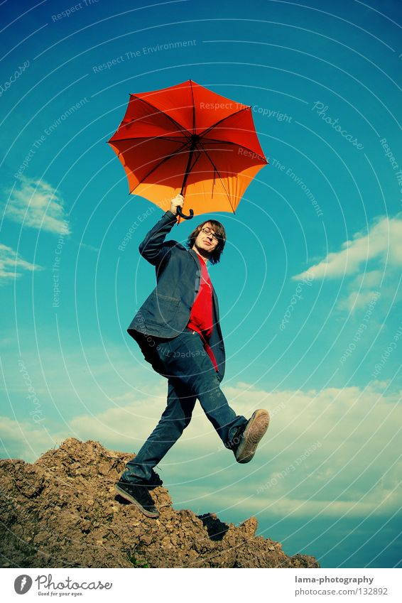 Welcome Mr. Poppins Cloppenburg Umbrella Sunshade Planning Going Easy Ease Hover Clouds Man Parachute Edge Crash Action Joy Sky Umbrella Art Foundation Orange
